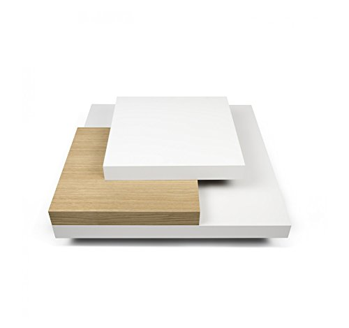 Aprodz Lunar Coffee Table (White and Brown)