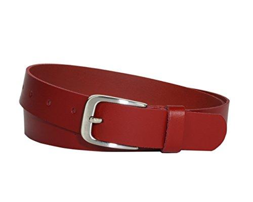 Ledergürtel 100 % echt Leder, Jeansgürtel, 3 cm breit und ca. 0.25 cm stark, Gürtel, Made in Germany, Anzugsgürtel, Hüftgürtel, Vascavi (95 cm Gesamtlänge 105 cm, Rot) -