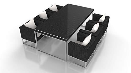 ARTELIA Mara L Polyrattan Sitzgruppe Esstisch-Set - Premium Gartenmöbel-Set für Garten, Wintergarten und Balkon, Balkonmöbel, Terrassenmöbel, schwarz