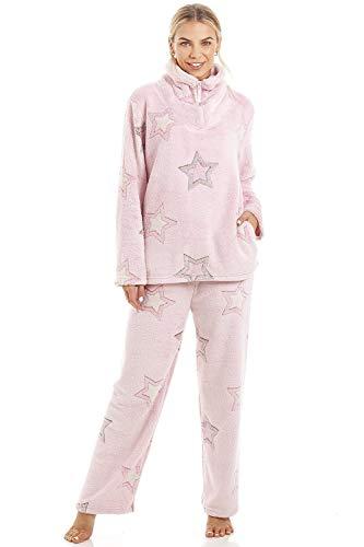 CAMILLE - Set di pigiami in Pile morbido a Maniche lunghe a Maniche lunghe per Donna 38/40 Pink Star Pyjama