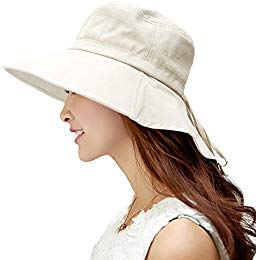 SIGGI SIGGI Baumwolle beiger Sommerhut UPF 50 + Sun Shade Hut mit Nackenschnur für Frauen breite Krempe