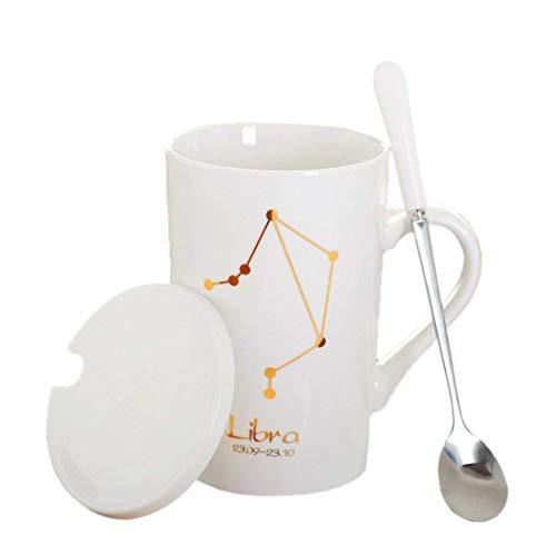 JINCHANGWU Geschenkbecher Keramiktasse mit Konstellation Gemälde Kaffeebecher mit Löffel ausstatten und Becherdeckel Kaffee Tasse - Waage
