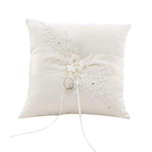 Cereoth Romantische Hochzeit Ringkissen Handgemachte Ehering Kissen Kissen Träger Sticken Spitze Blume mit Bogen 21 cm * 21 cm --- Elfenbein (Bogen-kissen)