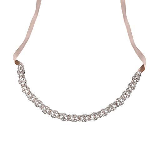 Bestoyard cintura donna tracolla in cristallo portatile e cintura in nastro da sposa damigella d'onore cintura da sposa (rosa oro)