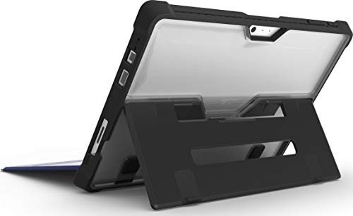 STM Bags Dux Case Schutzhülle für Microsoft Surface Pro 6/Pro (2017)/Pro 4 - schwarz/transparent [Militär Standard I Surface Pen Fach I Transparente Rückseite I Standfunktion I Type Cover kompatibel] -