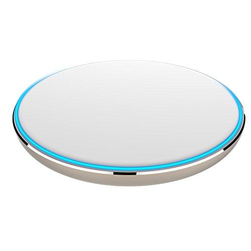 Preisvergleich Produktbild MMLC Wireless Charger,  Qi Wireless Induktives Ladegerät Kompatibel mit Apple iPhone XS / XS Max / XR / X / 8 / 8 Plus,  Galaxy S9 / S9+ / Note 9 / S8 / S8+,  Note 8,  S7 und alle Qi-fähige Handys (White)