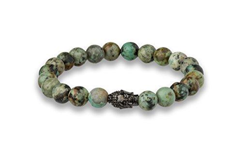 Luna Jule Buddha-Perlen-Armband - afrikanisches Türkis 8 mm Ø Perlen, 20 cm mit Buddha Kopf Anhänger in verschiedenen Längen und Ausführungen für Damen und Herren Armband Mit Türkis-perlen