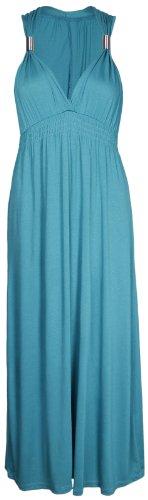 Neuf Femmes Long Extensible Femmes Col V Sans Manche Style Grecque Robe Longue Été Turquoise