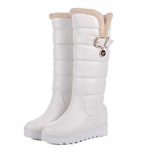 AgooLar Damen Rund Zehe Ziehen Auf Pu Leder Mitte-Spitze Niedriger Absatz Stiefel Weiß