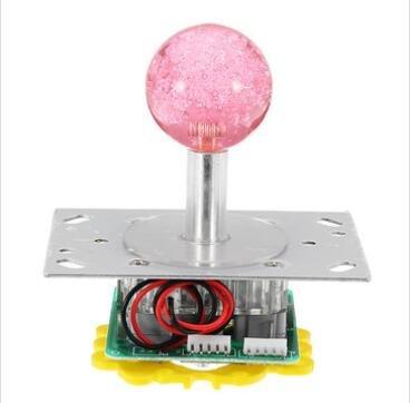GOZAR Klarer Farb-Joystick Mit Led-Licht Für Acarde Game Console Controller DIY - Rosa