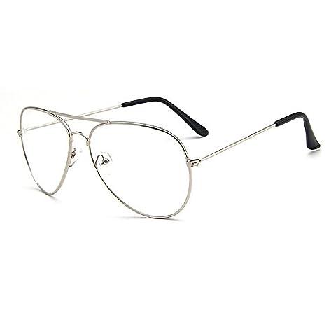 Lunettes de Rétro Modèle Aviateur, Skitic Unisex Métal Monture Frame Transparents Lentille Eyeglasses pour Homme et Femme - Argent
