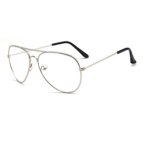 Skitic Retro Pilotenbrille Metallgestell Fensterglas Brille Ohne Stärke Durchsichtige Gläser Aviatorbrille Dekobrille - Silber