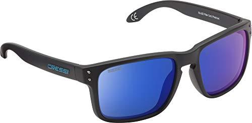 Cressi blaze sunglasses occhiali da sole con lenti htc polarizzate e idrorepellenti, unisex adulto, nero opaco/lenti specchiate blu