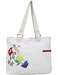 Pick Pocket White Floral Handbag With Red Embroidery