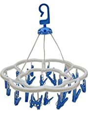 River Plast Plastic Round Cloth Drying Stand Hanger with 24 Clips/pegs, Baby Clothes Hanger Stand, (Set of 1)