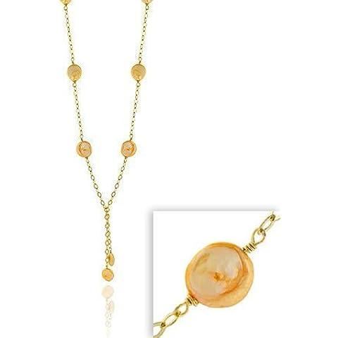 Oro, argento Sterling-d'acqua dolce coltivate, colore: oro chiaro, colore: champagne perlato-Collana Lariat a forma di moneta