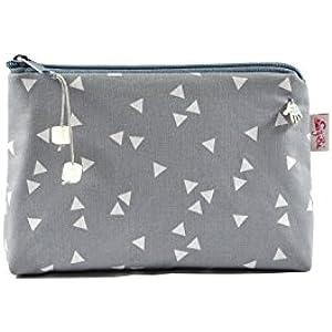 Kosmetiktasche mit kleinen Dreiecken in grau und weiß