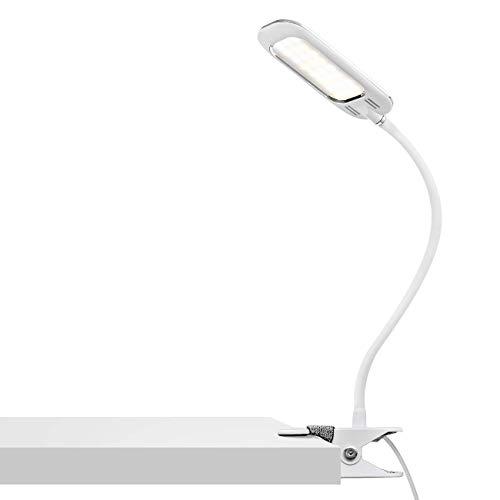 Lampe de bureau Post USB, Clip Lampe de lecture, 5W Luminosité Dimmable de 5% à 100%, Couleur Dimmable de 2800K à 6200K, Flexible