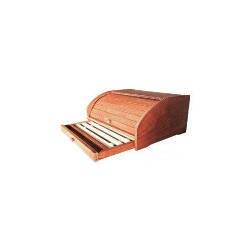 Porte à Pain à coulissant en bois noyer foncé avec planche à découper à tiroir 066243 Azimuthshop
