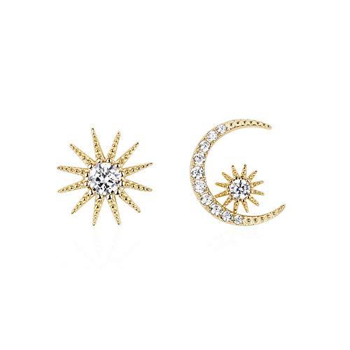 Ohrringe Wilde S925 Silber Nadel Asymmetrische Sterne Mond Ohrringe Lange Ohrringe Ohrringe Ohrringe Weiblich