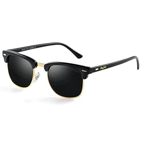 GREY JACK Klassische Polarisierte Halber Rahmen Gespiegelte Sonnenbrille Modebrille für Männer Frauen Schwarz Rahmen Schwarz Linse