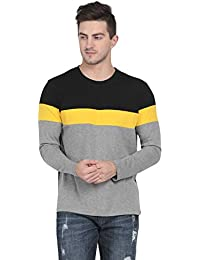 Pinaken Men's Full Sleeve Round Neck Cotton T-Shirt (Black and Mustard Yellow)