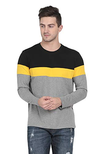 Pinaken Men's Cotton Full Sleeve Round Neck T-Shirts (Yellow, Black and Grey, Small)