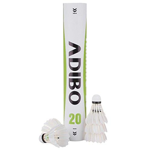 Federbälle, Adibo 12 Stück Durable Badminton Ball Naturfederbälle Federball Shuttle Mit hoher Stabilität und Haltbarkeit--Weiß