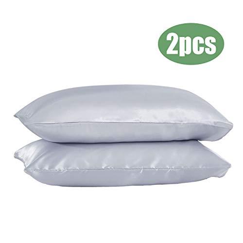 GLAUCUS 2 Stück Seiden-Satin-Kissenbezüge für Haare und Haut, bügelfrei, weich mit Umschlag-Verschluss. grau -