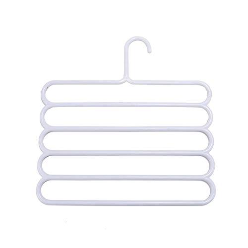 iHOMIKI Platzsparend Hosen Kleiderbügel Schwingt Multi Schichten Kunststoff Slack Aufhänger Organizer für Jeans-Tuch-Schal hängenden Non Slip Grau Weiß 1PC (Hängende Schal-organizer)