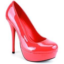 Andres Machado. AM453. Zapatos de tacón. Todos los números de la 32a la 45, Rojo (rojo), 38 EU