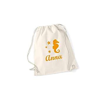 Rucksack Turnbeutel für Mädchen mit Seepferdchen und Namen in Deiner Wunschfarbe von SupaRina P