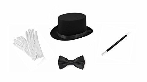 Zauberer Outfit (Erwachsene Zauberer Zylinder Zauberstab Weiße Handschuhe Fliege Satz Kostüm)