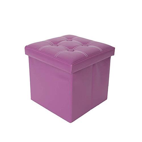 Rebecca mobili re4634 puff contenitore, sgabello cubo moderno, similpelle mdf, per arredo casa, viola, 30x30x30 cm
