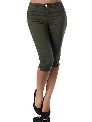 Diva-Jeans N956 Damen Caprihose Treggings Leggings Stoffhose Sommerhose Knielang 3/4 Capri, Größen:S, Farben:Khaki