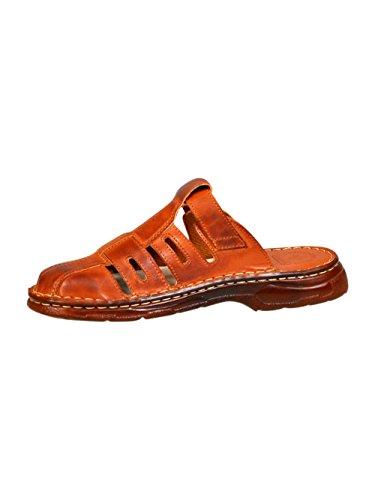 Herren Bequeme Sandalen Schuhe Mit Der Orthopadischen Einlage Aus Echtem Buffelleder Hausschuhe Modell 862 Kognak