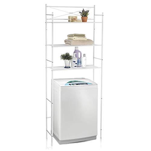 CARO-Möbel Toilettenregal MARSA Waschmaschinenregal Badezimmerregal Bad WC Stand Regal mit 3 Ablagen in weiß -