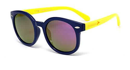 Sonnenbrille Vintage Runde Sunglasse Für Kinder, Schüler, Outdoor Brille Weiche Sicherheitsrahmen Hd Polarized Sonnenbrillen Mit Case Gelb Lila