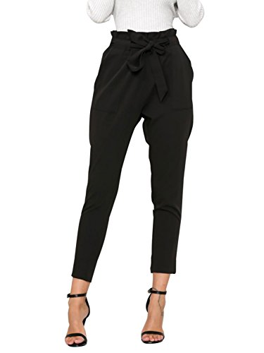 Simplee Apparel Women's Casual Regular Fit High Waist Chiffon Harem Pencil Pants Drawstring Waist Trousers Black