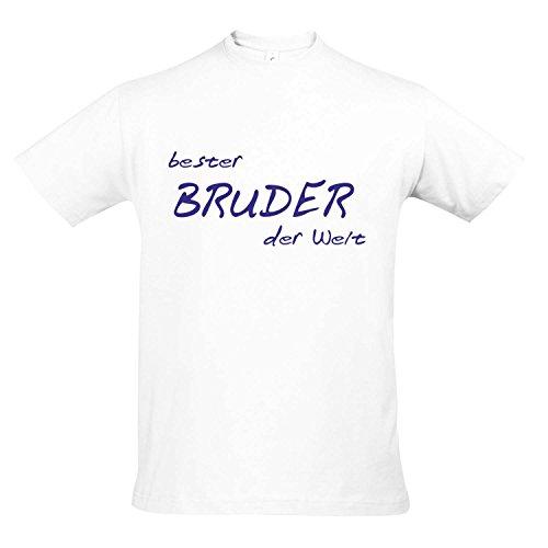 T-Shirt - Bester Bruder der Welt - GEBURTSTAG FUN KULT SHIRT S-XXL , White - blau , XXL (White Bruder T-shirt)