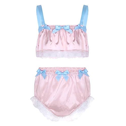 iEFiEL Herren Dessous BH Büstenhalter Crop Top + Sissy Höschen Tanga Slips Unterwäsche Set Männer Reizwäsche Bikini Set M-XL (Medium, Rosa B)