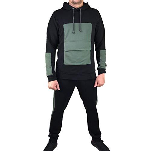 Willo❤️❤️ Fashion Herren Patchwork Sport Anzug, Farbe Tasche, Casual Sportanzug/Running, Armee-grün, XXL