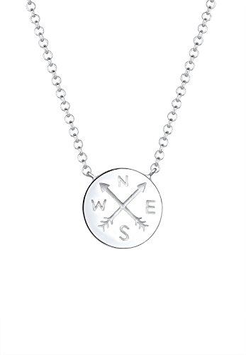 Elli Damen Halskette mit Kompass Anhänger Plättchen Reise Trend in 925 Sterling Silber - 45cm Länge