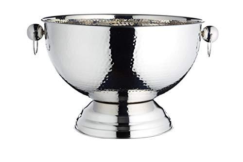 KitchenCraft Getränkeeimer Bar Craft gehämmert aus Edelstahl in Silber, 37 x 37 x 25 cm