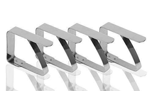 TK Gruppe Timo Klingler Tischtuchklammer Tischabdeckungsklammern Tischdeckenklammer Klammer für Tischdecke Tischtuch Tischdecke Silber (4X Stück)