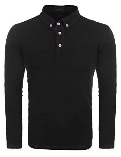 BURLADY Herren Poloshirt elegante Langarmshirts regular fit Langarmpolo für Männer Schwarz L (Polo Ralph Lauren-männer Knopf)