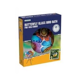Gardman A04375 Butterfly Glass Bird Bath - Multi-Colour 8