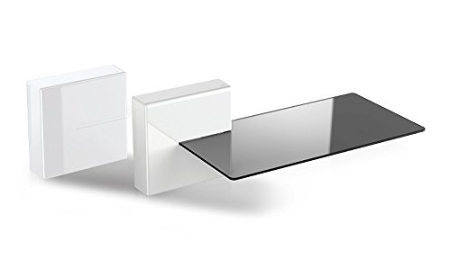 Meliconi 480522 Ghost Cubes Shelf White Stapelbare Kabelkanal mit Regalen aus Glas weiß - Stapelbare Glas-wand-regal