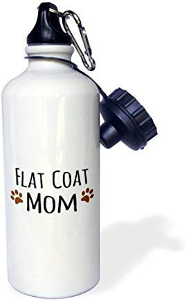 """Flat Coat Dog Mom-flat-coated retriever doggie by bread-brown muddy paw prints doggy lover mama"" White Aluminum Sports Water Bottle Funny Novelty Water Bottler with Straw for Gym Camping Gifts"