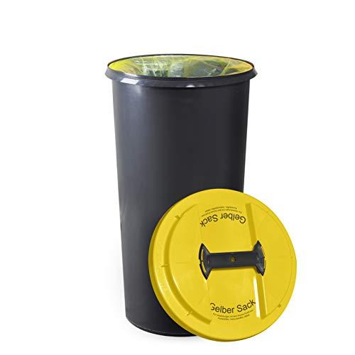 KUEFA BSC6 LA - 60L Mülleimer/Müllsackständer / Gelber Sack Ständer (Gelb, Gelber Sack)